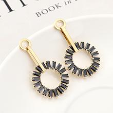 欧美创意百搭时尚个性镀真金圆环S925银针(14K金)