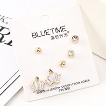 欧美时尚气质大牌镀真金个性大气小皇冠S925银针套装