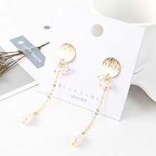 欧美大气复古时尚镀真金个性百搭流苏水晶玻璃珍珠S925银针