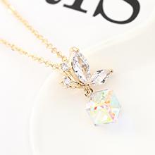 奥地利水晶项链--蝶翼之晶(14K金+彩白)