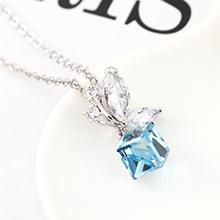 奥地利水晶项链--蝶翼之晶(白金+海蓝)
