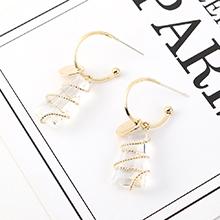 韩版简约时尚创意镀真金个性小清新气质镂空玻璃S925银针
