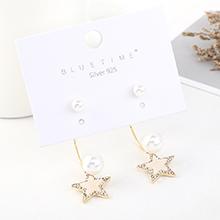 欧美时尚复古创意镀真金个性小清新星星珍珠S925银针