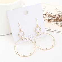 韩版小清新百搭创意镀真金时尚个性气质大圈圈镂空耳环