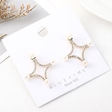 韩版简约百搭小清新镀真金时尚个性珍珠镂空S925银针