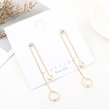 韩版时尚创意大气镀真金流苏百搭小圈珍珠S925银针