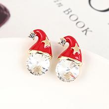 奥地利水晶耳钉--圣诞帽(白色)