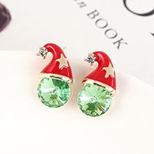 奥地利水晶耳钉--圣诞帽(橄榄)