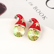 奥地利水晶耳钉--圣诞帽(夜光绿)