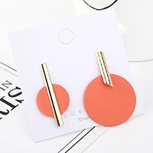 韩版时尚气质大牌镀真金创意百搭个性不对称圆片磨砂S925银针