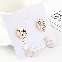 韩版时尚复古个性镀真金百搭气质小荷叶珍珠流苏S925银针