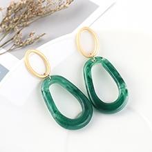 欧美时尚复古气质镀真金大牌百搭冷淡风小圈镂空S925银针(绿色)
