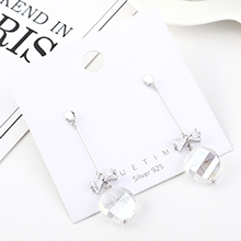 韩版创意流苏时尚镀真金百搭气质蝴蝶结玻璃S925银针(白金)
