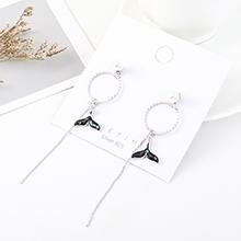韩版小清新创意长款镀真金流苏时尚圆圈尾鳍S925银针(白金)