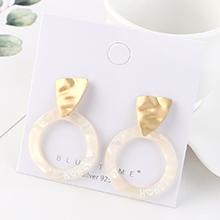 欧美时尚创意冷淡风镀真金个性气质字母圆圈S925银针(哑金+白色)