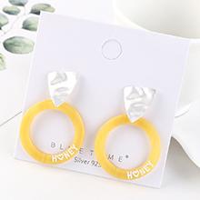 欧美时尚创意冷淡风镀真金个性气质字母圆圈S925银针(哑银+黄色)