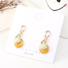 韩版时尚个性创意镀真金气质百搭小圆盘滴油S925银针(绿色+浅黄)
