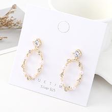韩版简约时尚气质镀真金大牌个性圆圈珍珠镂空S925银针