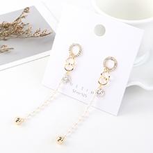 韩版时尚复古个性镀真金气质大牌长款小圆圈流苏珍珠S925银针