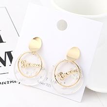 欧美大牌时尚个性镀真金气质创意字母圆片S925银针