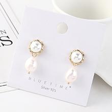 韩版简约复古时尚镀真金个性百搭气质珍珠S925银针