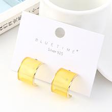 欧美创意简约小清新镀真金百搭个性半圆S925银针(黄色)