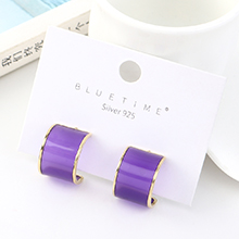 欧美创意简约小清新镀真金百搭个性半圆S925银针(紫色)