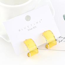 韩版简约时尚气质镀真金个性百搭半月S925银针(黄色)