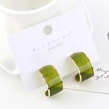 韩版简约时尚气质镀真金个性百搭半月S925银针(绿色)