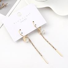 韩版大气时尚长款镀真金流苏百搭气质玻璃珠S925银针