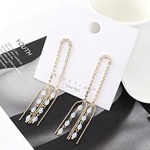 韩版气质时尚大牌镀真金百搭创意流苏水晶玻璃S925银针
