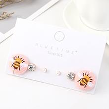 韩版小清新时尚百搭可爱简约小蜜蜂耳钉套装(粉色)