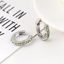 韩版创意时尚可爱百搭小圆环耳环(白K+绿色)