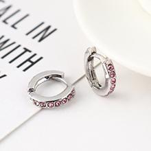 韩版创意时尚可爱百搭小圆环耳环(白K+粉色)
