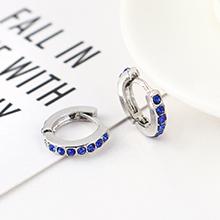 韩版创意时尚可爱百搭小圆环耳环(白K+蓝色)