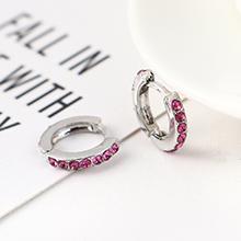 韩版创意时尚可爱百搭小圆环耳环(白K+紫色)