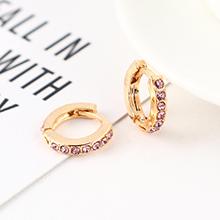 韩版创意时尚可爱百搭小圆环耳环(KC金+紫色)