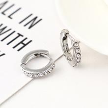 韩版创意时尚可爱百搭小圆环耳环(白K+白色)