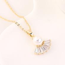 AAA级锆石项链--扇圆珠(14K金)