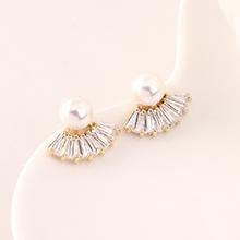 AAA级锆石耳钉--扇圆珠(14K金)