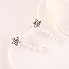 韩版简约复古小清新时尚个性创意百搭小花花珍珠耳钉