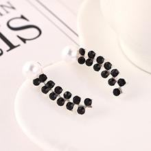 欧美复古时尚百搭个性珍珠小清新双排水钻耳钉(黑色)