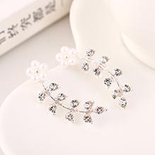 欧美百搭个性创意时尚气小枝叶珍珠水钻S925银针(白色
