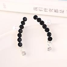 韩版气质大牌时尚创意珍珠个性单排水钻耳钉