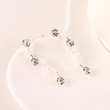 欧美大气时尚个性百搭创意树枝珍珠水晶耳钉