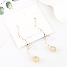 韩版长款百搭气质镀真金大牌个性大气珍珠耳环