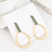 欧美时尚个性气质镀真金创意磨砂镂空圆圈S925银针(绿色)