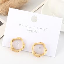欧美大牌气质时尚镀真金冷淡风创意方形镂空S925银针(哑金)