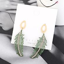 欧美时尚简约冷淡风镀真金小树叶创意气质S925银针(绿色)