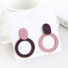 韩版镀真金时尚简约气质个性圆圈镂空S925银针(粉+紫)